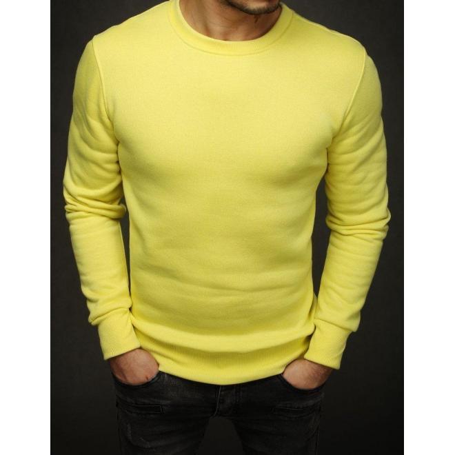 Hladká pánska mikina žltej farby bez kapucne