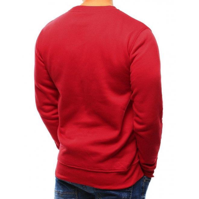 Hladká pánska mikina červenej farby bez kapucne