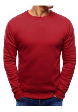 Červená hladká mikina bez kapucne pre pánov