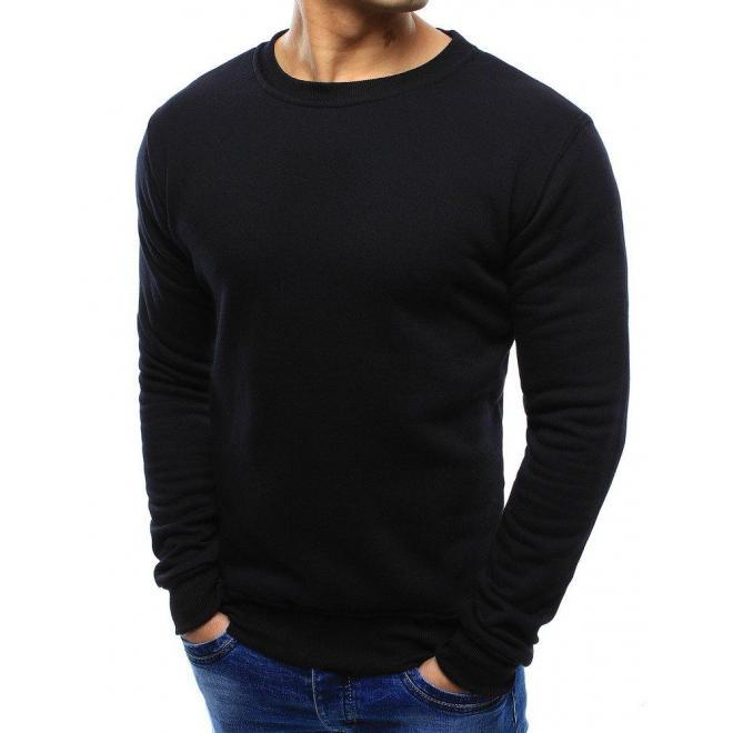 Hladká pánska mikina čiernej farby bez kapucne