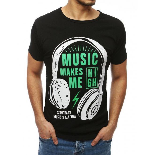Čierne štýlové tričko s potlačou pre pánov