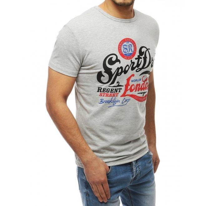 Pánske klasické tričko s potlačou v svetlosivej farbe