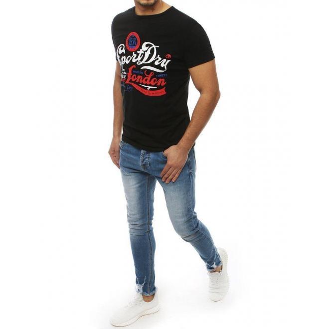 Klasické pánske tričká čiernej farby s potlačou