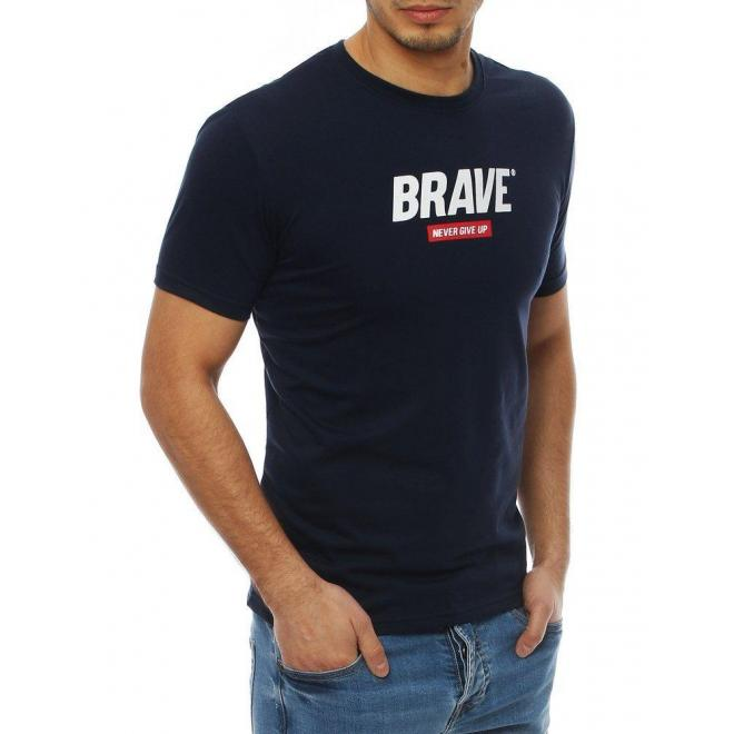 Pánske štýlové tričko s potlačou v tmavomodrej farbe