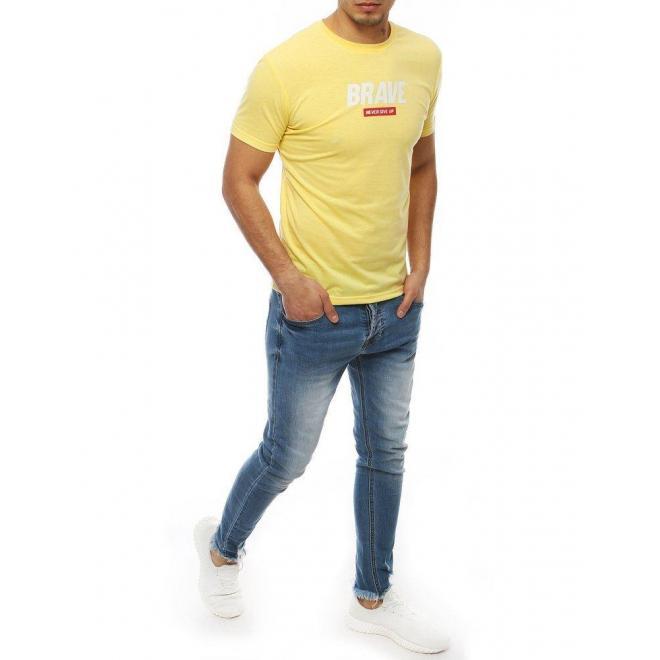 Žlté štýlové tričko s potlačou pre pánov