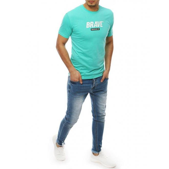Pánske štýlové tričko s potlačou v zelenej farbe