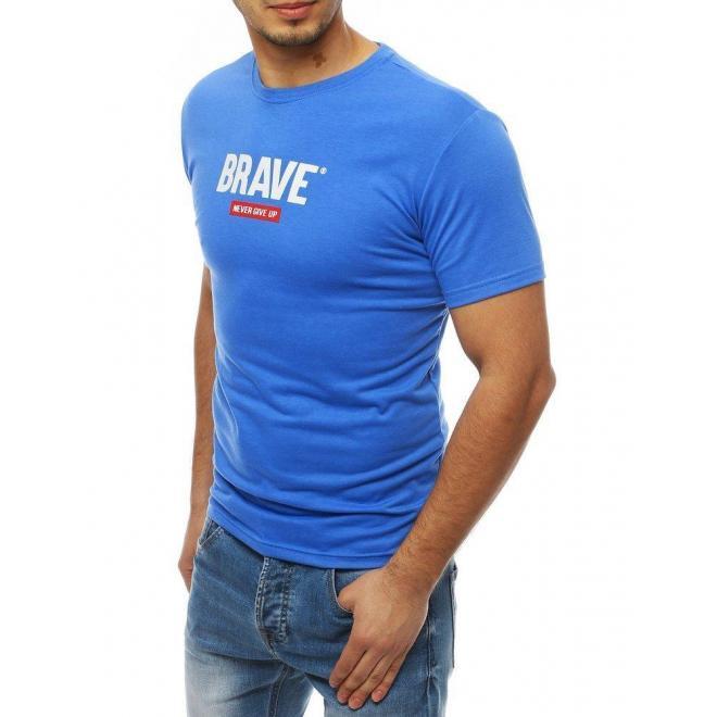 Štýlové pánske tričko modrej farby s potlačou