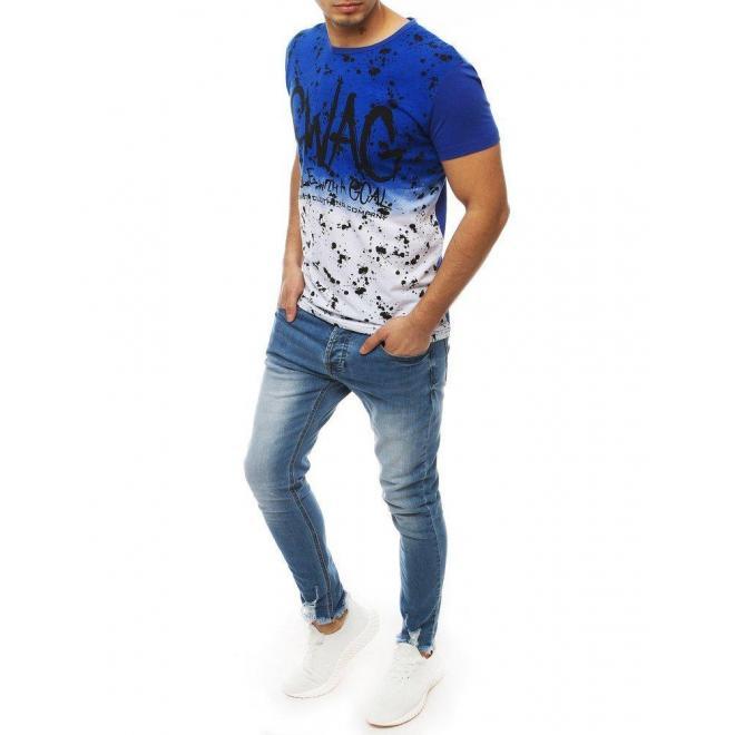 Pánske módne tričko s potlačou v bielo-modrej farbe