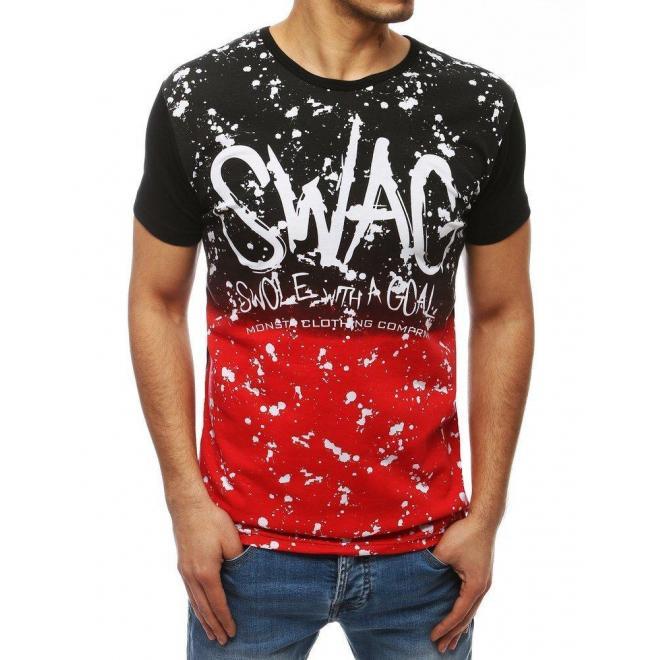 Pánske módne tričko s potlačou v čierno-červenej farbe