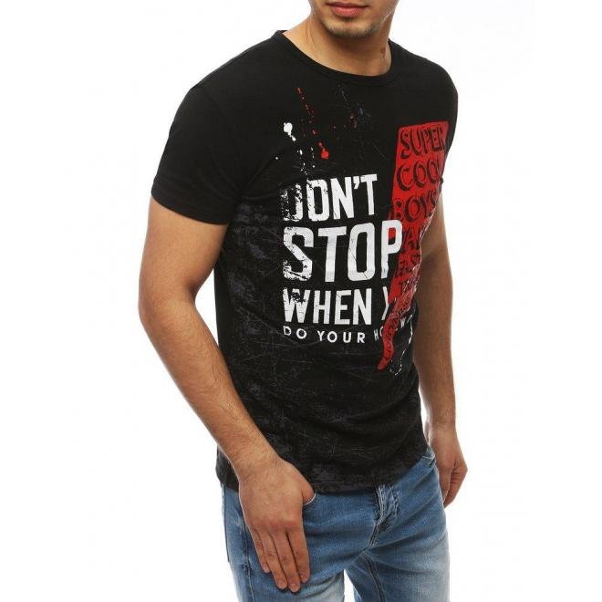 Pánske športové tričká s potlačou v čiernej farbe