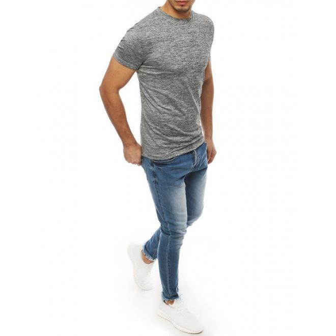 Klasické pánske tričko svetlosivej farby bez potlače