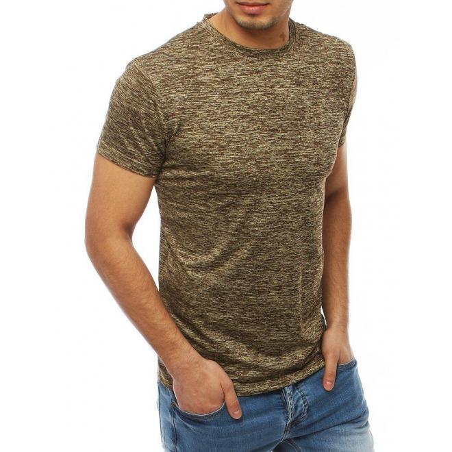 Béžové klasické tričko bez potlače pre pánov