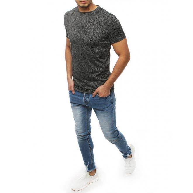 Pánske klasické tričko bez potlače v tmavosivej farbe