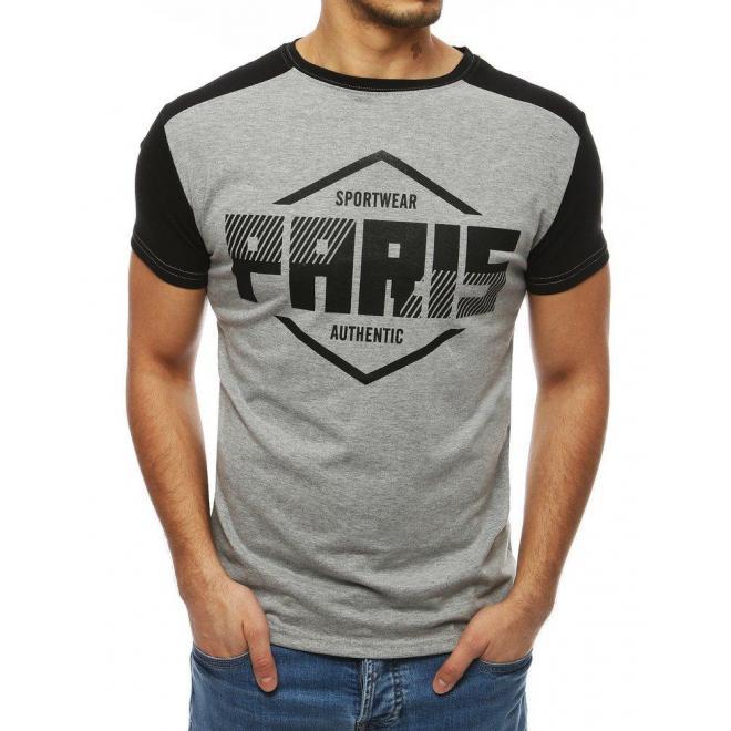 Štýlové pánske tričko svetlosivej farby s potlačou
