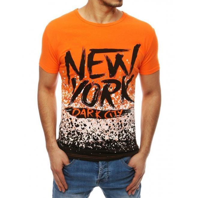 Módne pánske tričko oranžovej farby s potlačou