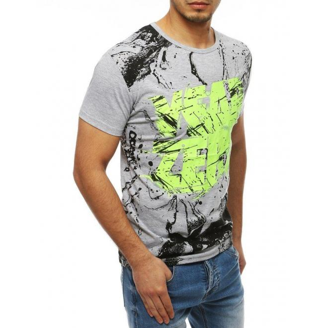 Štýlové pánske tričko sivej farby s potlačou