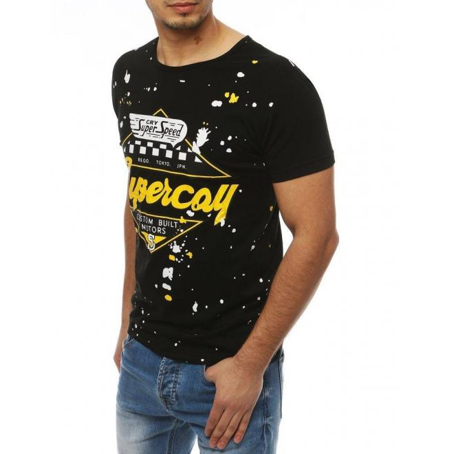 Športové pánske tričko čiernej farby s potlačou