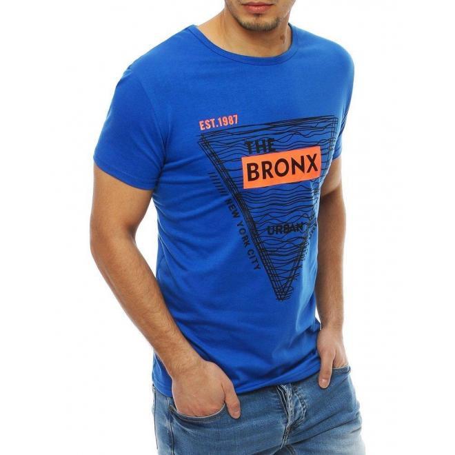 Pánske klasické tričko s potlačou v modrej farbe