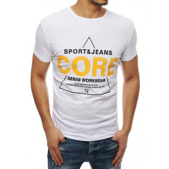 Biele klasické tričko s potlačou pre pánov