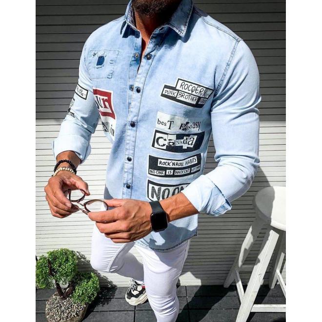 Svetlomodrá rifľová košeľa s potlačou pre pánov