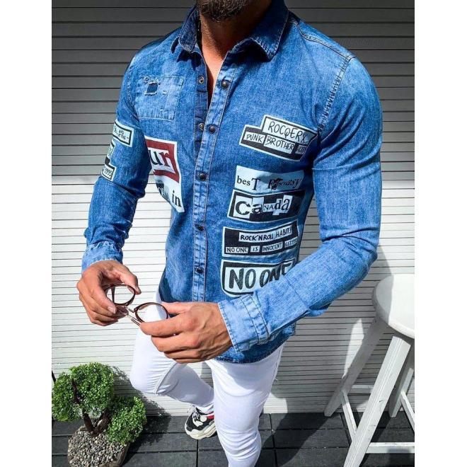 Pánska rifľová košeľa s potlačou v modrej farbe