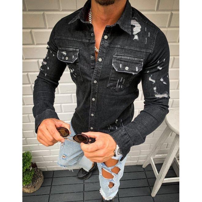 Čierna rifľová košeľa s dierami pre pánov