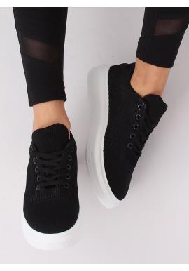 Dámske módne tenisky na vysokej podrážke v čiernej farbe