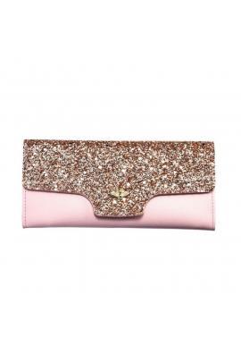 Módna dámska peňaženka ružovej farby s brokátom