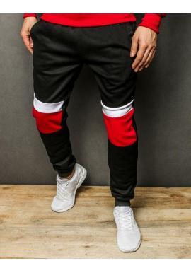 Športové pánske tepláky čiernej farby s kontrastnými vložkami