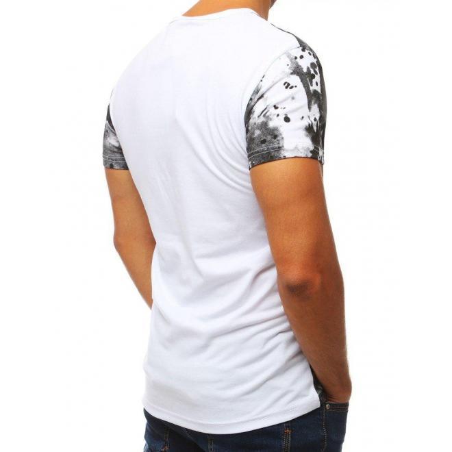 Pánske športové tričko s potlačou v bielej farbe