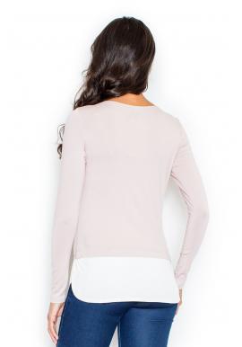 Sivé asymetrické tričko s dlhým rukávom pre dámy