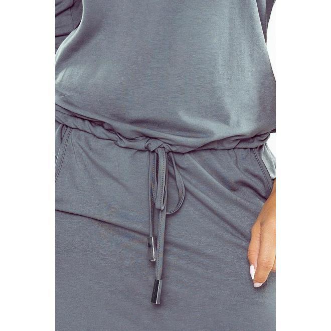Dámske športové šaty s 3/4 rukávom v tmavosivej farbe