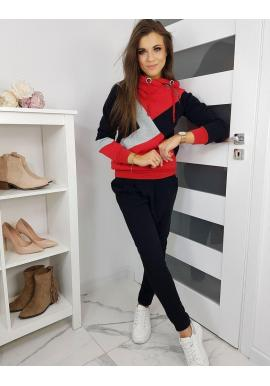 Tepláková dámska súprava čierno-červenej farby