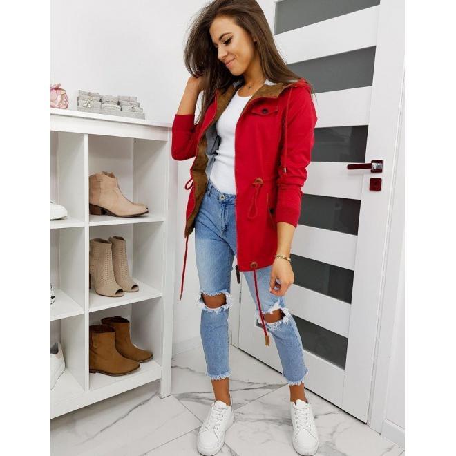 Červená prechodná bunda s kapucňou pre dámy