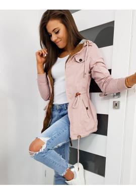 Prechodná dámska bunda ružovej farby s kapucňou