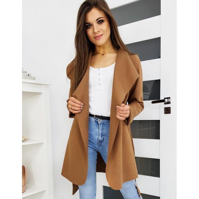 Dámsky jarný kabát s viazaním v páse v hnedej farbe