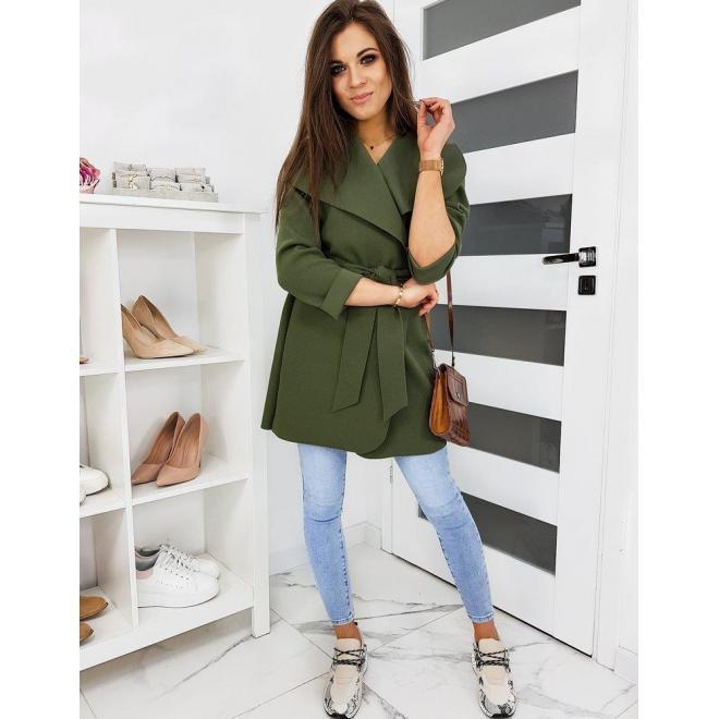 Dámske jarné kabáty s viazaním v páse v olivovej farbe