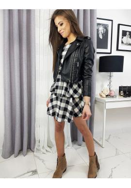 Krátka koženková bunda čiernej farby