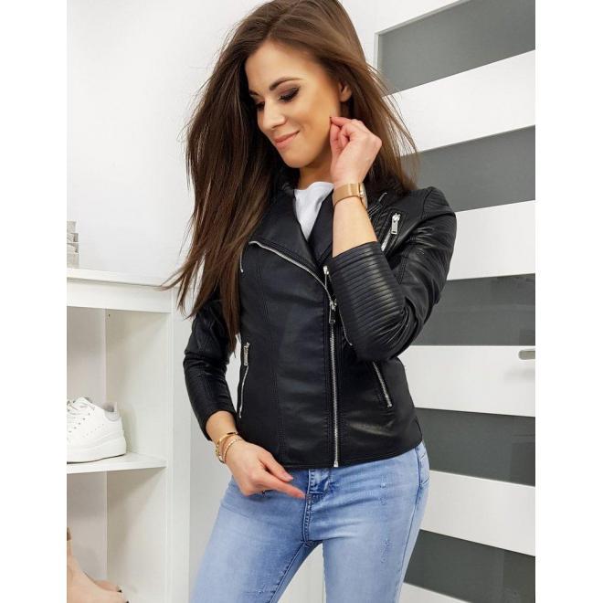 Čierna koženková bunda na prechodné obdobie pre dámy