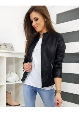 Dámska klasická koženková bunda v čiernej farbe