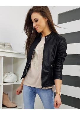 Kožená dámska bunda čiernej farby na prechodné obdobie