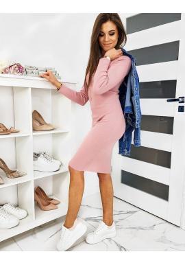 Ružové svetrové šaty s rolákom pre dámy