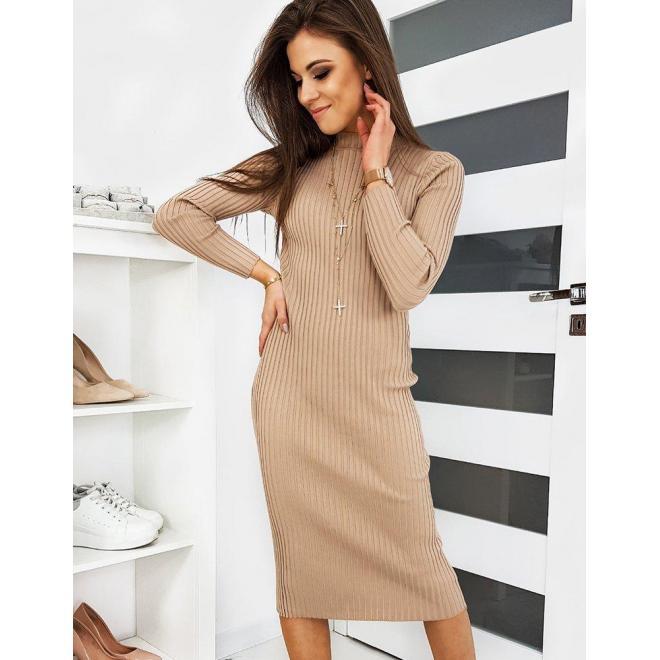 Béžové svetrové šaty s dlhým rukávom pre dámy