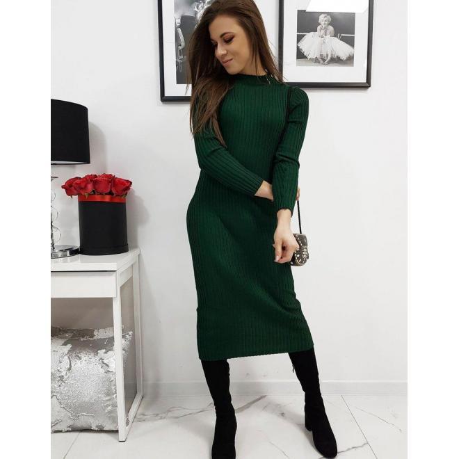 Svetrové dámske šaty zelenej farby s dlhým rukávom
