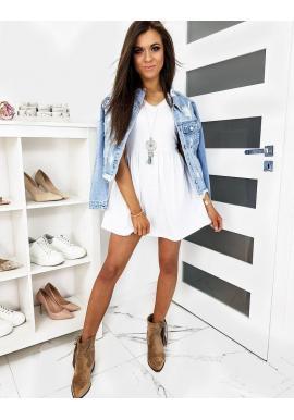 Biele mini šaty s krátkym rukávom pre dámy