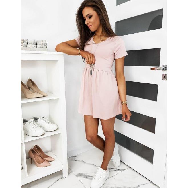 Dámske mini šaty s krátkym rukávom v ružovej farbe