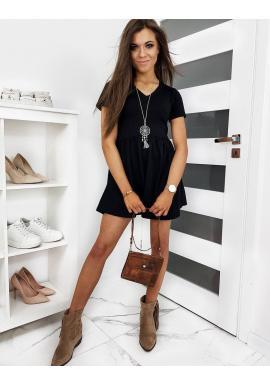 Mini dámske šaty čiernej farby s krátkym rukávom