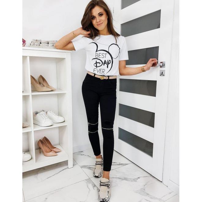 Dámske klasické tričko s módnou potlačou v bielej farbe