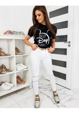 Čierne klasické tričko s módnou potlačou pre dámy