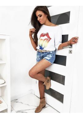 Oversize dámske tričko bielej farby s farebnou potlačou